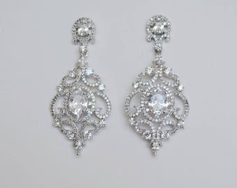 Bridal Earrings, Cubic Zirconia Crystals, Silver Tone, Wedding Jewelry, Stud Earrings, Juliet - Will Ship in 1-3 Business Days