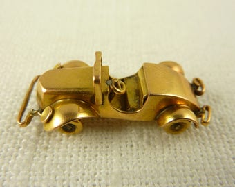 Antique 14K Gold Large 1920s Convertible Roadster Charm with Moveable Wheels