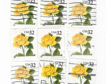 15 Yellow Roses stamps, USA postage stamps - Vintage used Stamps, floral