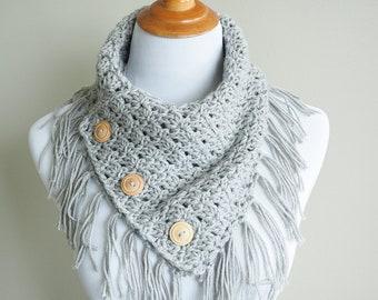 Easy Breezy Buttoned Cowl | Crochet Pattern | Cowl Pattern | Easy Crochet Pattern | Button Down Scarf | Crocheted Neck Warmer | PDF Pattern