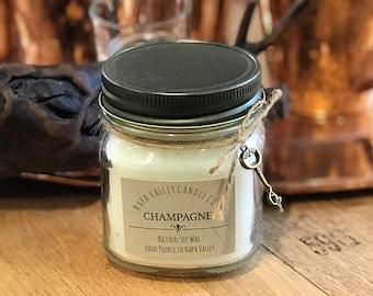 Champagne - Handmade Natural Soy Wax Mason Jar Candle
