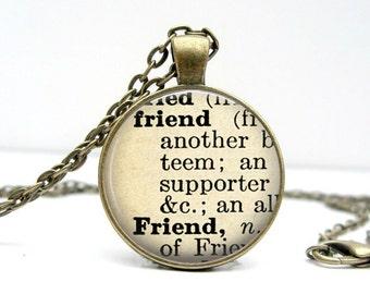 Dictionary Necklace : Friend. Jewelry. Definition Necklace. Pendant. Friend Necklace. Friend Meaning. Handmade Jewelry (1060)