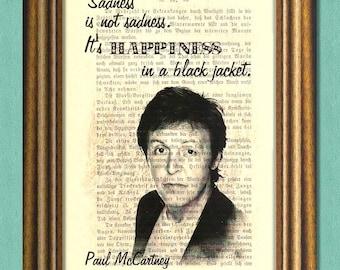 PAUL McCARTNEY Beatles - SADNESS - Dictionary art print - Wall Art - book page print recycled