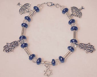 Chanukah Charm Bracelet and Matching Earrings with Silver Plated Tube Beads