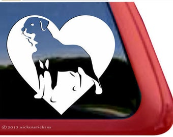 "Rottweiler Heart | DC948HRT | High Quality Adhesive Vinyl Window Decal Sticker - 5"" tall x 5.25"" wide"