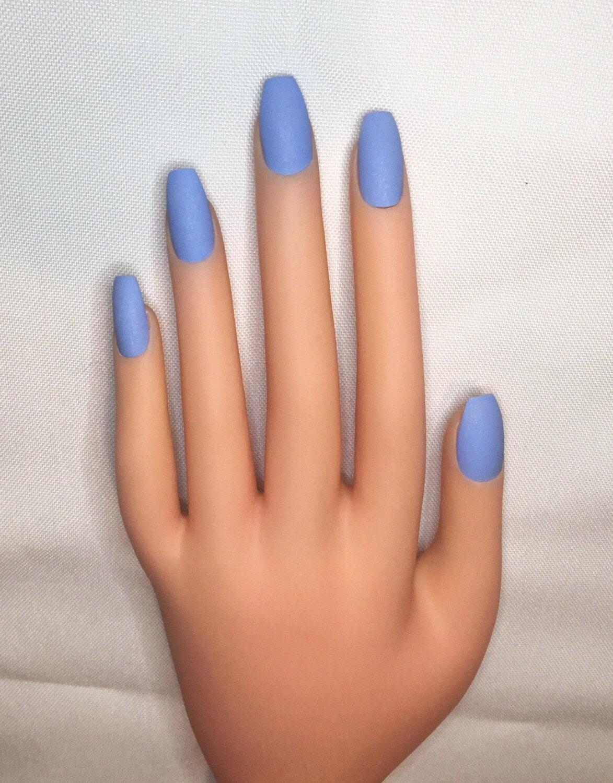 Kornblumenblau drücken Sie auf Nägel l blau falsche Nägel l