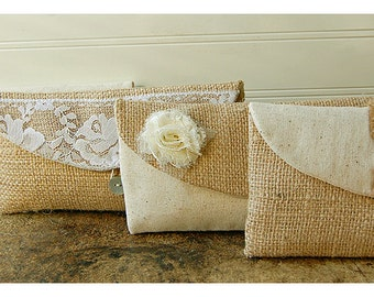 burlap bag lace wedding clutch set 4 rustic cotton linen rose flower choice purse Personalize Bridesmaid party Custom gift MakeUp