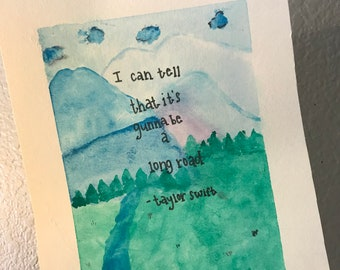 Taylor Swift lyric watercolor painting New Year's Day