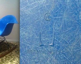 EAMES RARE BLUE Fiberglass Rocking Chair Vintage Armshell Herman Miller logo embossed rocker Alexander Girard Mad Men George Nelson era