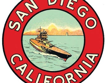 Vintage Style  San Diego California US Navy  Travel Decal sticker
