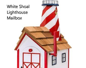 Lighthouse Mailbox  Solar Light Amish Handmade White Shoal