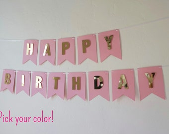Pink Happy Birthday Banner with Gold Letters | Gold Birthday Banner | Custom Banner | Pink and Gold Birthday Banner | The Paper Bow Shop