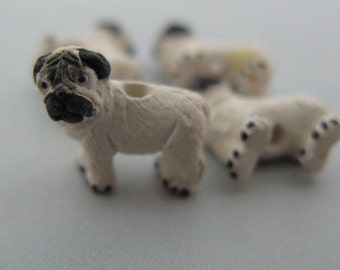4 Ceramic Animal Beads - Tiny Pug Dog Beads - CB508