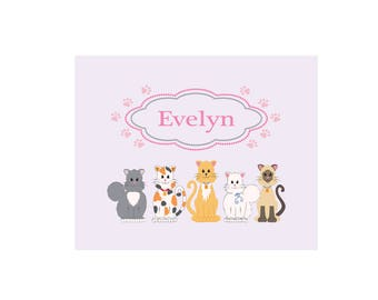 Personalized Pink Cats White Wall Canvas