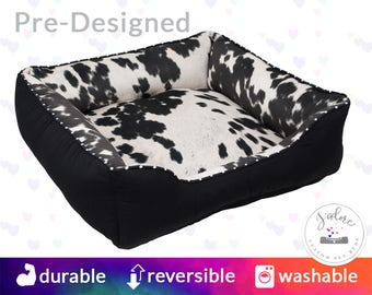 Black Faux Cowhide Dog Bed with Name Embroidery - Faux Fur, Country, Black - Washable, Reversible and High Quality