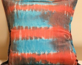 """Cushion Cover, 16"""" Square Cushion Cover, Hand Dyed Cushion Cover, One of a Kind Cushion Cover, Pillow Cover, Throw Pillow Cover"""