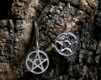 Pentacle earrings ~ Sterling Silver Pentagram. Drop earrings. Dangly earrings.