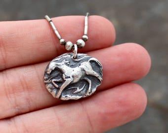 Fine Silver Horse Pendant Necklace - PMC Horse Necklace - Equestrian Pendant Necklace - Precious Metal Clay Pendant - silver bead necklace