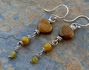 Tiger Eye Heart & Tail Earrings.Mystery Yellow and Green Stones.Silver Wired . Rustic Southwest Boho Tribal Style Jewelry