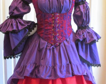 DDNJ NEW Choose Color 2 Tier Bell Slv Ruffle Burlesque Chemise Plus Custom Made ANY Size Pirate Medieval Wench Costume Steampunk Victorian