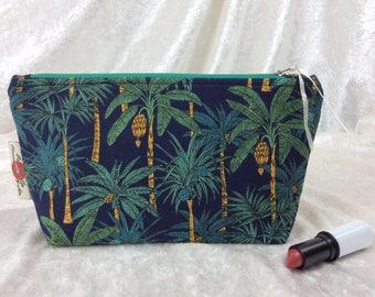 Handmade Zipper Case Zip Pouch fabric bag pencil case Palm Trees