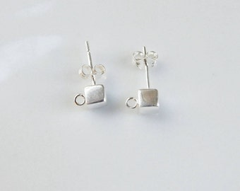 1 pair (2 pcs) 4mm Sterling silver, cube  post earrings with one open  loop (2.5mm), silver cube stud earwire