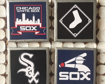COASTERS!! Chicago White Sox coasters with silver trim
