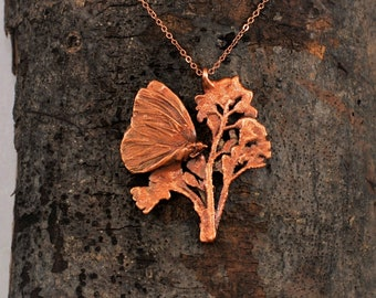 Electroformed Real Butterfly on Flowers Copper Necklace G18