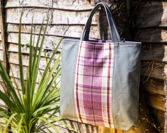 grey leather and check fabric shopper bag