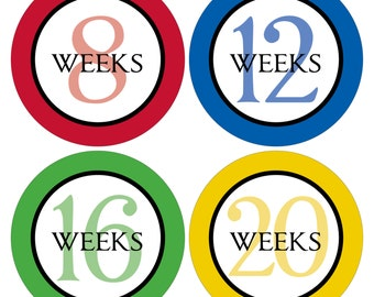 12 Weekly Pregnancy Mama-to-be Maternity Waterproof Glossy Stickers  - Monthly stickers available - Design W005-06
