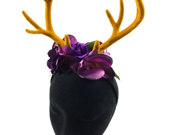 Beautiful deer stag horn flower crown Handmade by Asbeau *purple orchids*