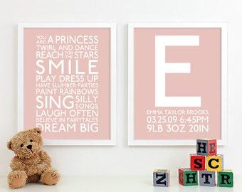 Baby Girl Art Print Girl Nursery Art Playroom Rules Subway Art Baby Girl Wall Art Decor Nursery Monogram Birth Announcement Baby Name