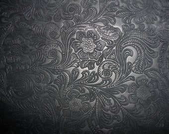 "Suede Leather 15""x15"" Etched Daisy BLACK Floral Cowhide No shine, Matte  3.5 oz / 1.4 mm PeggySueAlso™ E2875-06"