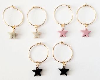 Matte Star Hoop Earrings   thin everyday hoops,granite star,black star,blush pink,galaxy earrings, north star earrings,celestial earrings