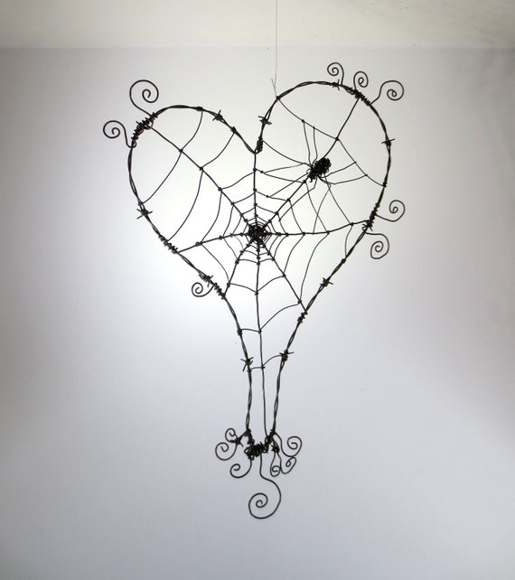 Wonky Barbed Wire Heart With Spider Web And Spider Made To