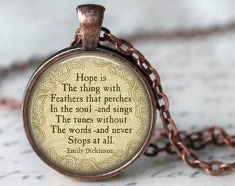 EMILY DICKINSON Quote Pendant Necklace Romantic Poem Emily Dickinson Glass Pendant Jewerly Handmade Necklace American Poet
