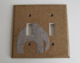 Elephant Tan Light switch Plate- double- Recycled Materials