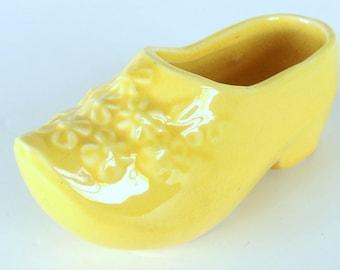 Vintage Yellow Dutch Shoe Ceramic Planter