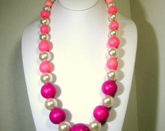 SALE, BIG Pretty in Pink n Pearls  Bead Necklace, OOAK Fun by Rachelle Starr, Ecochic Recycled Vintage Beads, Long Graduated Perky Necklace
