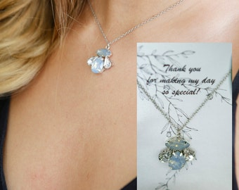 Wedding thank you gift Bridesmaid necklace tiny jewelry single pendant necklace simple bridal necklace delicate Will you be my gift Sister