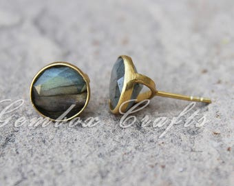 Natural Labradorite 10mm Round Faceted 925 Sterling Silver Gold Plated Smooth Finish Studs Earrings