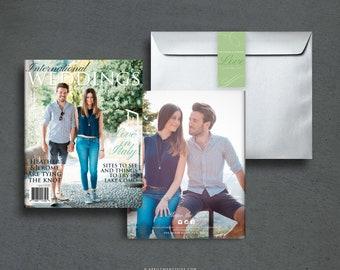 HEATHER 8-Page Full Size Glossy Magazine Wedding Invitation Suite, Photo Book, Custom Booklet Invite for Destination Wedding