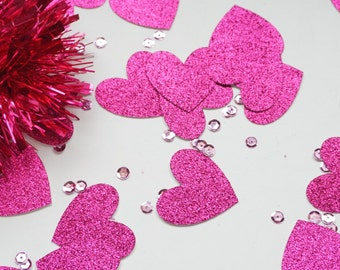 Bright Pink Glitter Heart Confetti, Pink Confetti, Glitter Heart Confetti, Party Decorations, Party Decor, Wedding Decor, Birthday Party