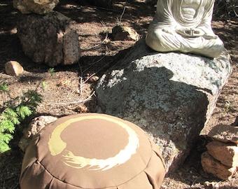 Zafu Meditation Cushion Pillow Enso brown