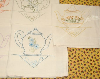 Set of Seven Pretty Little Teapots Teatowels Hand Embroidered OOAK