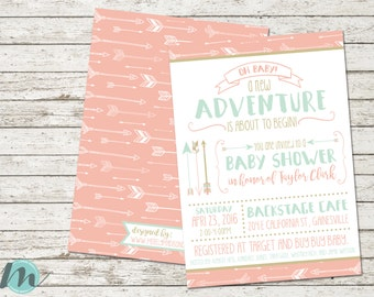 Oh Baby A New Adventure Tribal Arrow Pink, Gold and Blue Baby Shower Invitation, Invite, 5 x 7, Digital Printable, Digital Download,