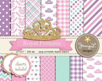 50% OFF Royal Little Princess Digital papers and Clipart, Gold Crown Girl Baby Shower, Birthday Pink Birth Announcement, Scrapbooking Party