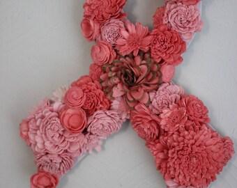 Custom Awareness Ribbon with Sola Wood Flowers