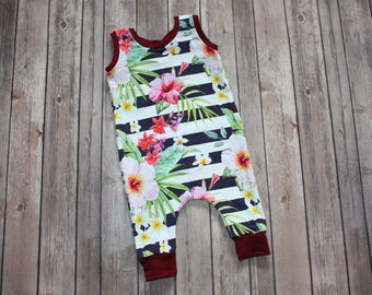 Baby Girl Romper,Floral Romper,Toddler Romper,Watercolor Flowers,Stripes Romper,Summer Romper,Newborn Romper,Baby Jumpsuit,Floral Romper