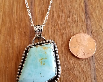 "Blue Gem Mine turquoise pendant with 22"" sterling silver chain."
